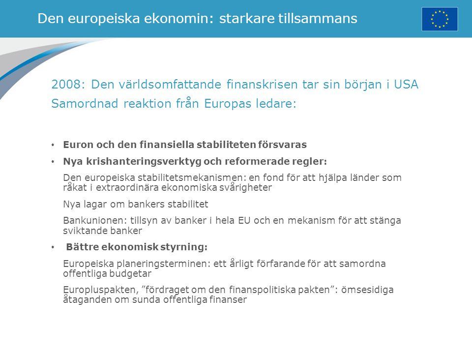 Den europeiska ekonomin: starkare tillsammans 2008: Den världsomfattande finanskrisen tar sin början i USA Samordnad reaktion från Europas ledare: Eur
