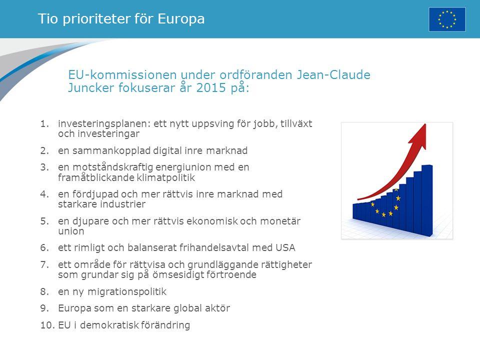 Tio prioriteter för Europa EU-kommissionen under ordföranden Jean-Claude Juncker fokuserar år 2015 på: 1.investeringsplanen: ett nytt uppsving för job