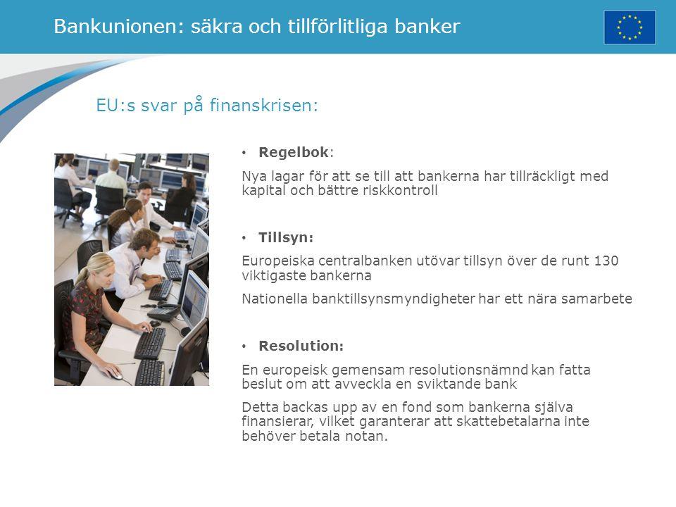 Bankunionen: säkra och tillförlitliga banker EU:s svar på finanskrisen: Regelbok: Nya lagar för att se till att bankerna har tillräckligt med kapital