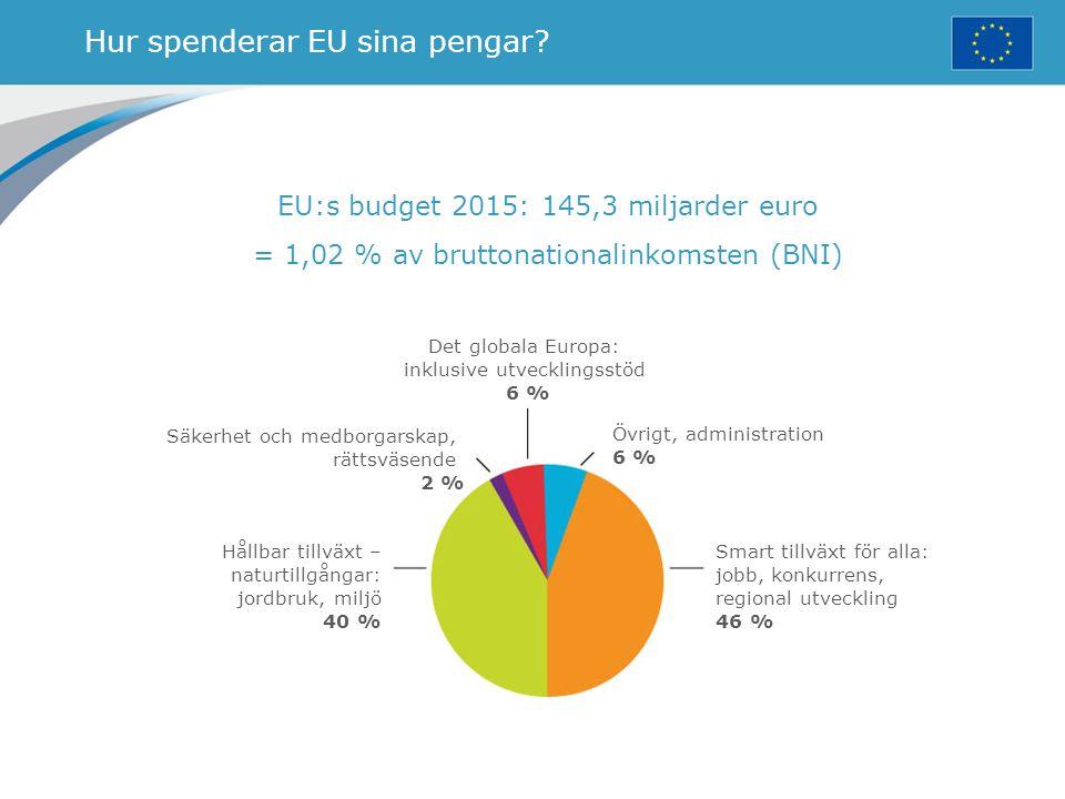 Hur spenderar EU sina pengar? EU:s budget 2015: 145,3 miljarder euro = 1,02 % av bruttonationalinkomsten (BNI) Det globala Europa: inklusive utvecklin