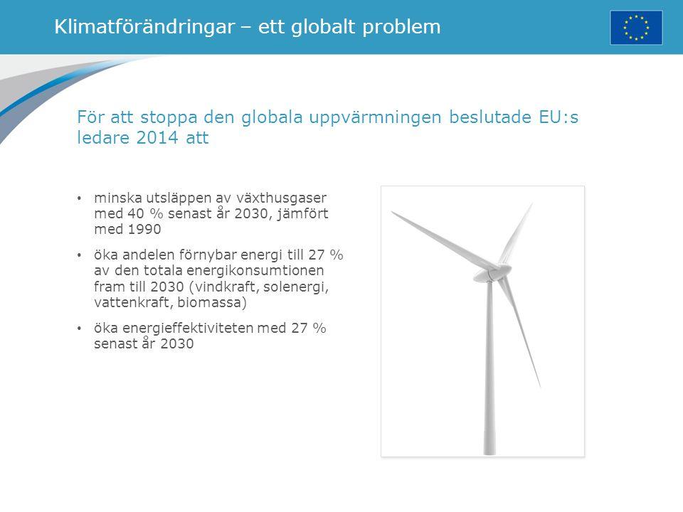 Klimatförändringar – ett globalt problem minska utsläppen av växthusgaser med 40 % senast år 2030, jämfört med 1990 öka andelen förnybar energi till 2