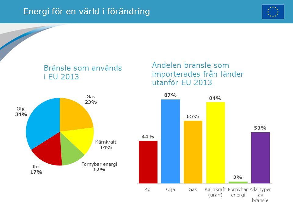 Energi för en värld i förändring Bränsle som används i EU 2013 Andelen bränsle som importerades från länder utanför EU 2013