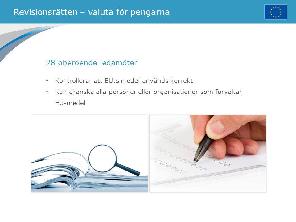 Revisionsrätten – valuta för pengarna 28 oberoende ledamöter Kontrollerar att EU:s medel används korrekt Kan granska alla personer eller organisatione