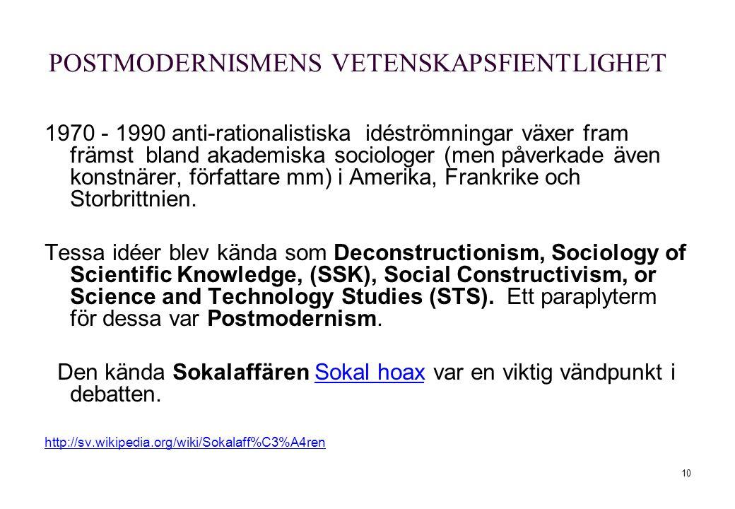 10 POSTMODERNISMENS VETENSKAPSFIENTLIGHET 1970 - 1990 anti-rationalistiska idéströmningar växer fram främst bland akademiska sociologer (men påverkade