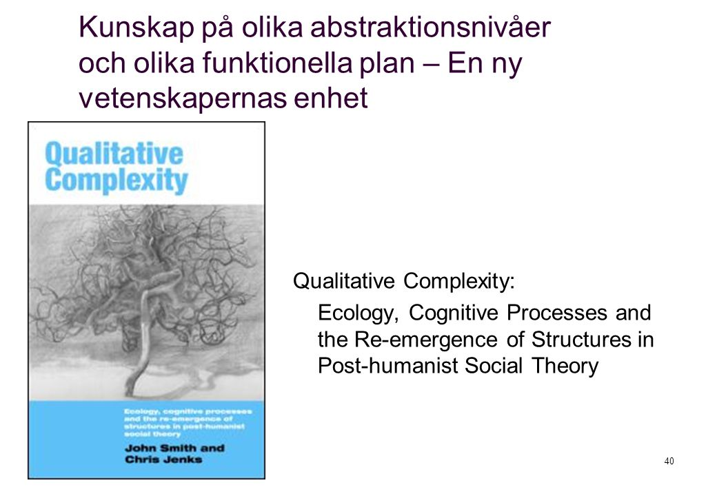 Qualitative Complexity: Ecology, Cognitive Processes and the Re-emergence of Structures in Post-humanist Social Theory 40 Kunskap på olika abstraktion