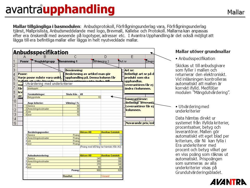MallarMallar Anbudsspecifikation Mallar tillgängliga i basmodulen: Anbudsprotokoll, Förfrågningsunderlag vara, Förfrågningsunderlag tjänst, Mallprisli
