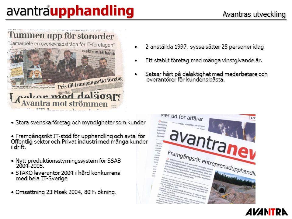 Avantras utveckling 2 anställda 1997, sysselsätter 25 personer idag Ett stabilt företag med många vinstgivande år. Satsar hårt på delaktighet med meda