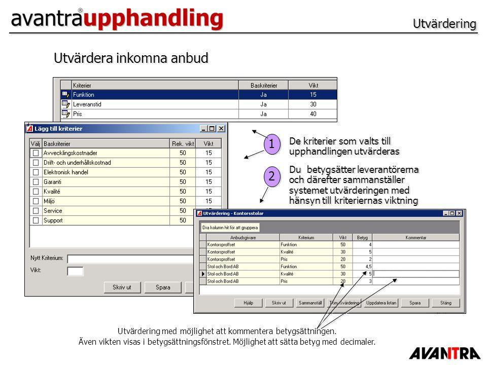 UtvärderingUtvärdering Utvärdera inkomna anbud 1 1 2 2 De kriterier som valts till upphandlingen utvärderas Du betygsätter leverantörerna och därefter