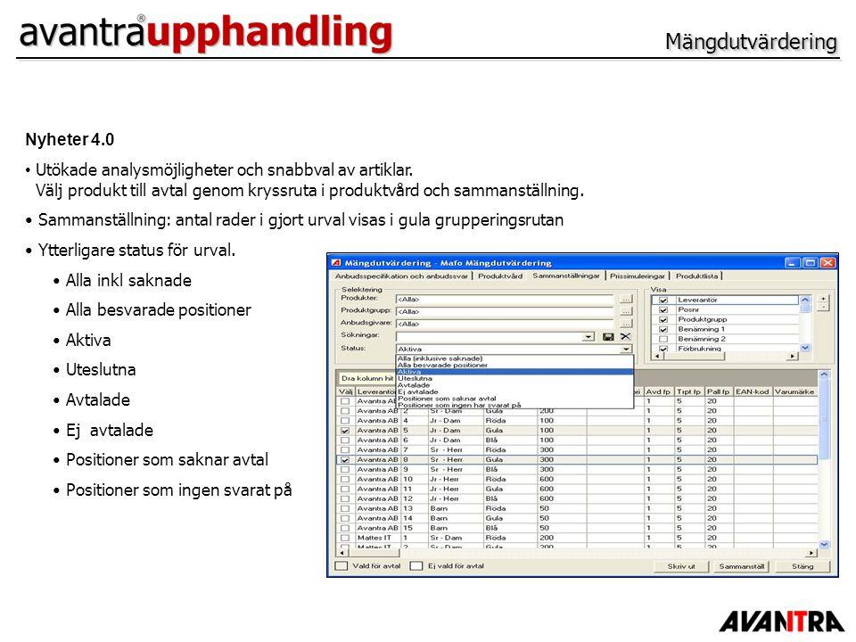 MängdutvärderingMängdutvärdering Nyheter 4.0 Utökade analysmöjligheter och snabbval av artiklar. Välj produkt till avtal genom kryssruta i produktvård