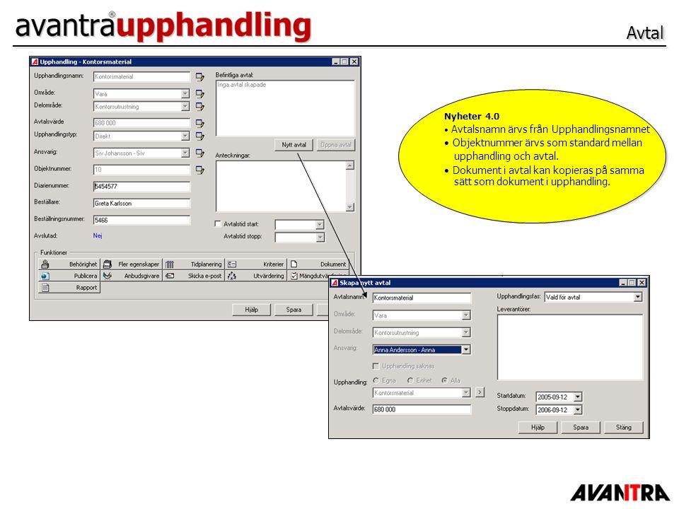AvtalAvtal Nyheter 4.0 Avtalsnamn ärvs från Upphandlingsnamnet Objektnummer ärvs som standard mellan upphandling och avtal. Dokument i avtal kan kopie
