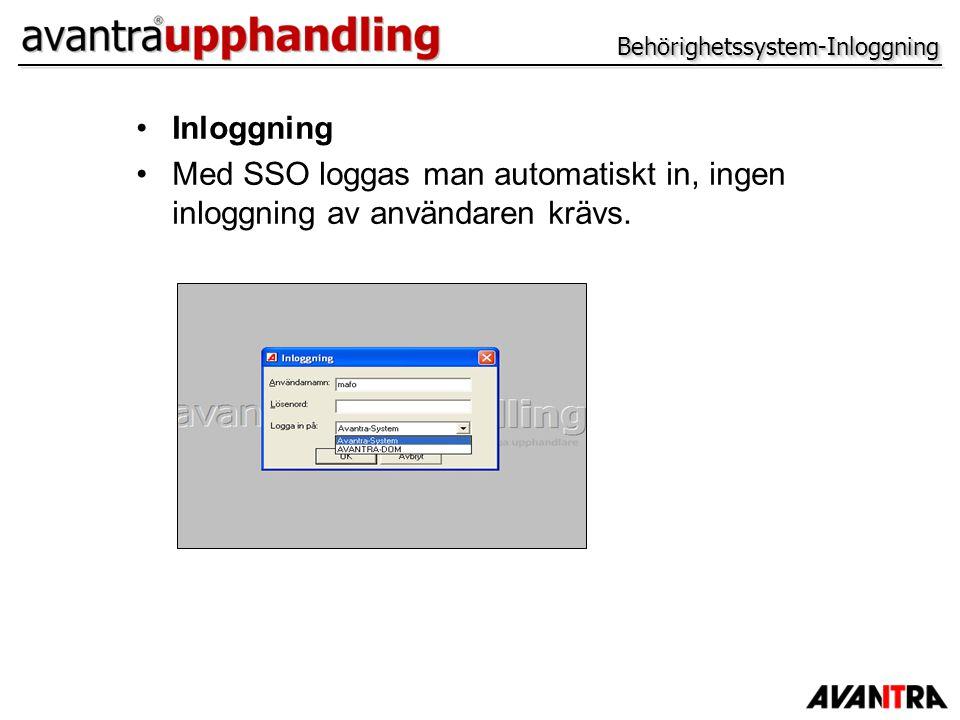 Behörighetssystem-InloggningBehörighetssystem-Inloggning Inloggning Med SSO loggas man automatiskt in, ingen inloggning av användaren krävs.