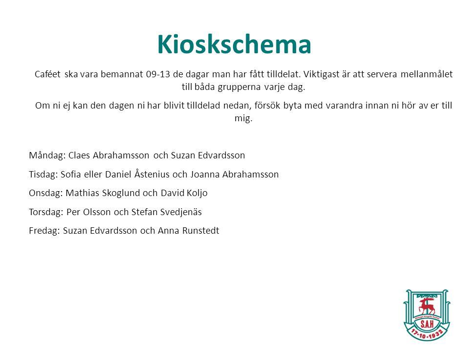 Kioskschema Caféet ska vara bemannat 09-13 de dagar man har fått tilldelat. Viktigast är att servera mellanmålet till båda grupperna varje dag. Om ni
