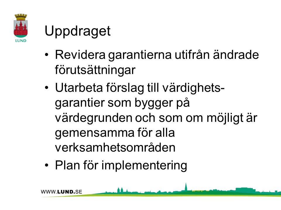 Uppdraget Revidera garantierna utifrån ändrade förutsättningar Utarbeta förslag till värdighets- garantier som bygger på värdegrunden och som om möjligt är gemensamma för alla verksamhetsområden Plan för implementering