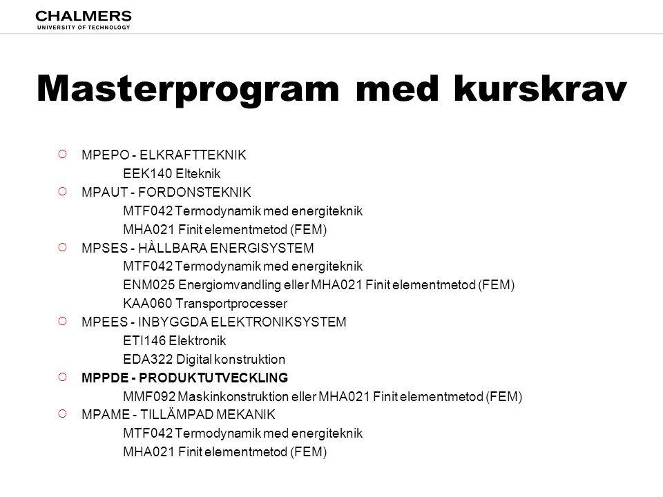 Valbara kurser, LP2 DAT037Datastrukturer EDA092Operativsystem ENM025Energiomvandling KAA060Transportprocesser MHA021Finit elementmetod (FEM) MMF092Maskinkonstruktion MVE170Grundläggande stokastiska processer PPU210Maskinelement TEK225Teknik och samhälle EEK140Elteknik