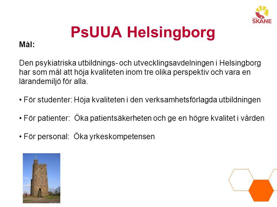 PsUUA Helsingborg Mål: Den psykiatriska utbildnings- och utvecklingsavdelningen i Helsingborg har som mål att höja kvaliteten inom tre olika perspektiv och vara en lärandemiljö för alla.