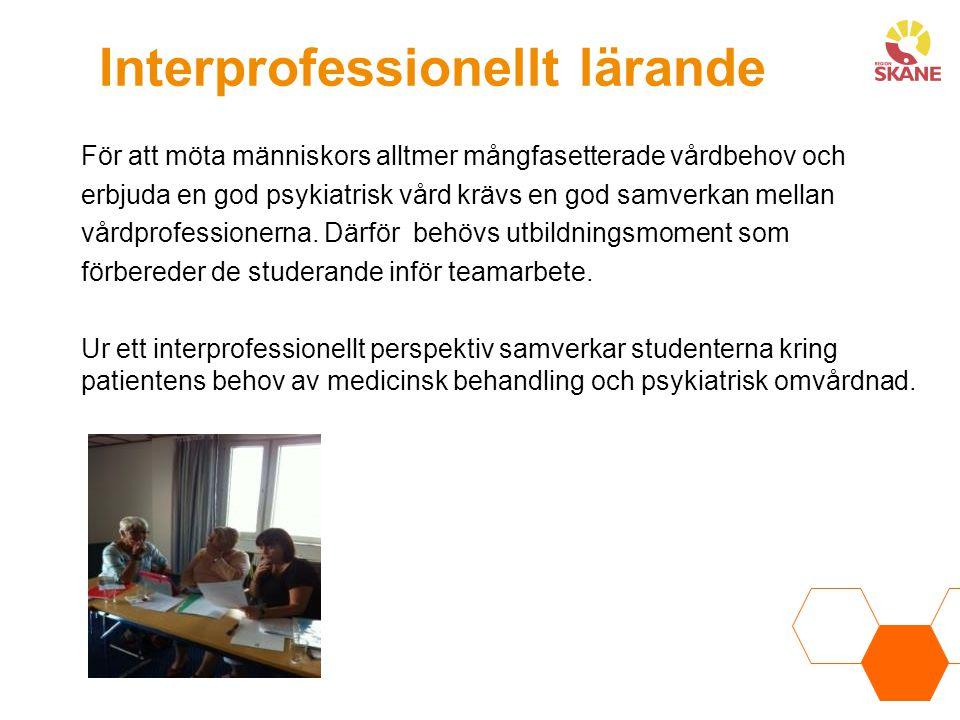 Interprofessionellt lärande För att möta människors alltmer mångfasetterade vårdbehov och erbjuda en god psykiatrisk vård krävs en god samverkan mellan vårdprofessionerna.