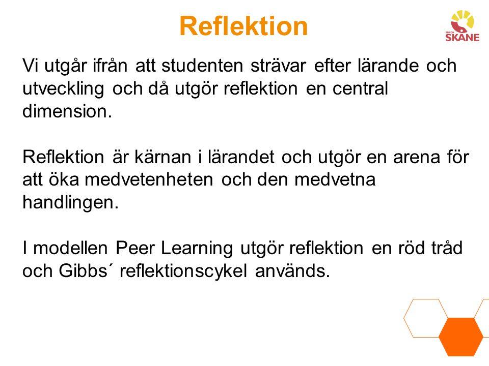 Reflektion Vi utgår ifrån att studenten strävar efter lärande och utveckling och då utgör reflektion en central dimension. Reflektion är kärnan i lära