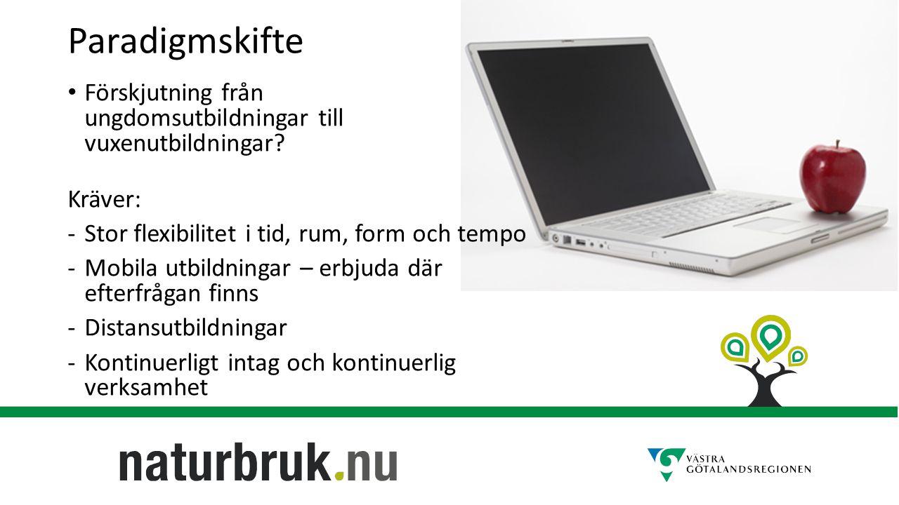 Paradigmskifte Förskjutning från ungdomsutbildningar till vuxenutbildningar.