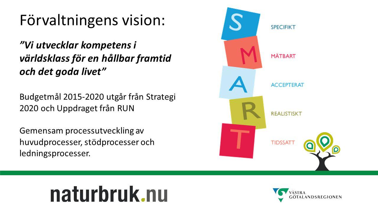 Förvaltningens vision: Vi utvecklar kompetens i världsklass för en hållbar framtid och det goda livet Budgetmål 2015-2020 utgår från Strategi 2020 och Uppdraget från RUN Gemensam processutveckling av huvudprocesser, stödprocesser och ledningsprocesser.