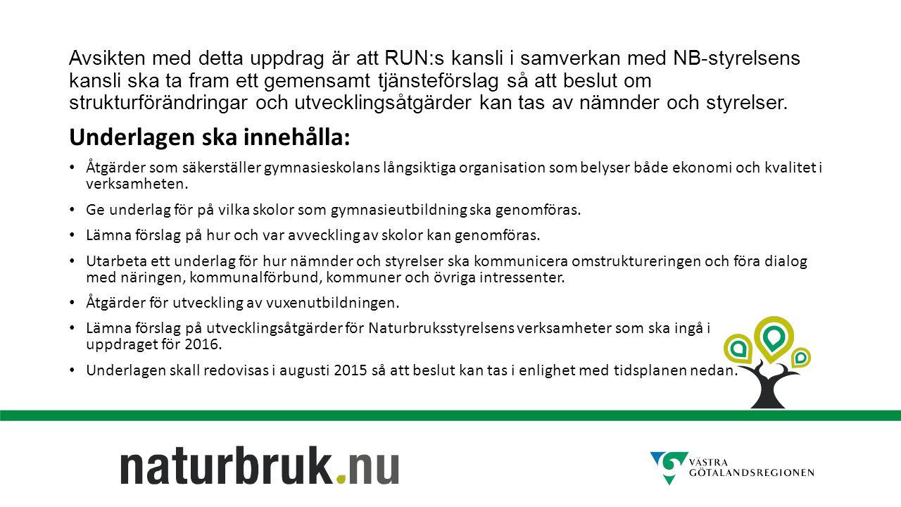 Avsikten med detta uppdrag är att RUN:s kansli i samverkan med NB-styrelsens kansli ska ta fram ett gemensamt tjänsteförslag så att beslut om strukturförändringar och utvecklingsåtgärder kan tas av nämnder och styrelser.