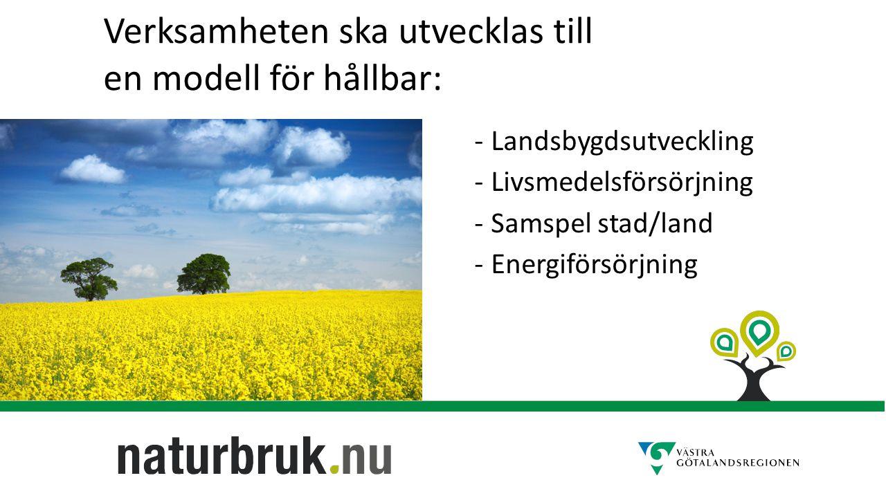 -Landsbygdsutveckling -Livsmedelsförsörjning -Samspel stad/land -Energiförsörjning Verksamheten ska utvecklas till en modell för hållbar: