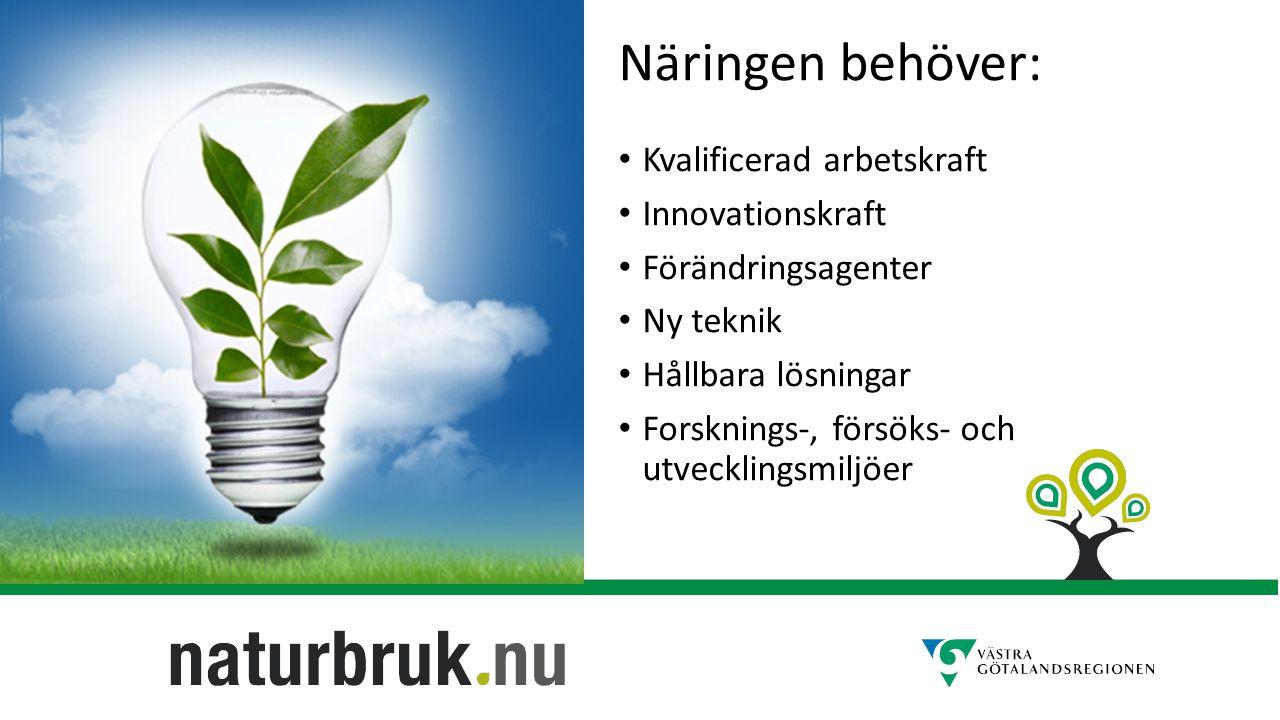Näringen behöver: Kvalificerad arbetskraft Innovationskraft Förändringsagenter Ny teknik Hållbara lösningar Forsknings-, försöks- och utvecklingsmiljöer
