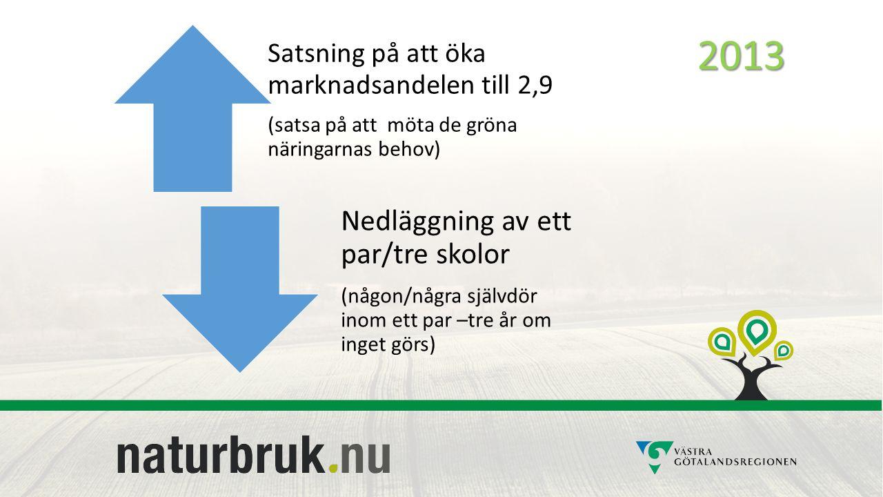 Vägval 2013 Satsning på att öka marknadsandelen till 2,9 (satsa på att möta de gröna näringarnas behov) Nedläggning av ett par/tre skolor (någon/några självdör inom ett par –tre år om inget görs)2013