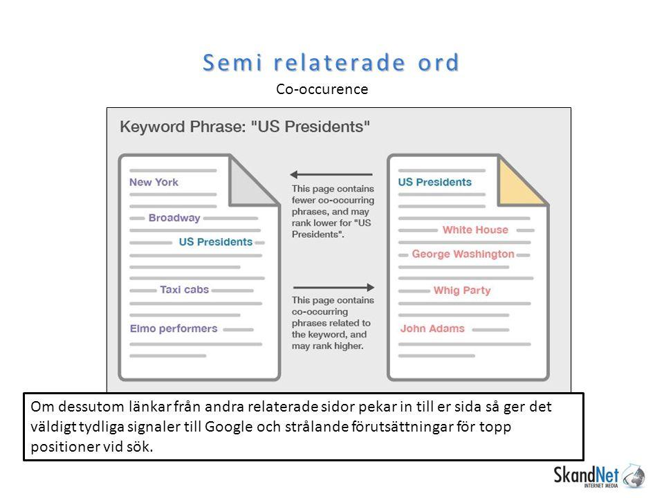 Semi relaterade ord Co-occurence Om dessutom länkar från andra relaterade sidor pekar in till er sida så ger det väldigt tydliga signaler till Google och strålande förutsättningar för topp positioner vid sök.
