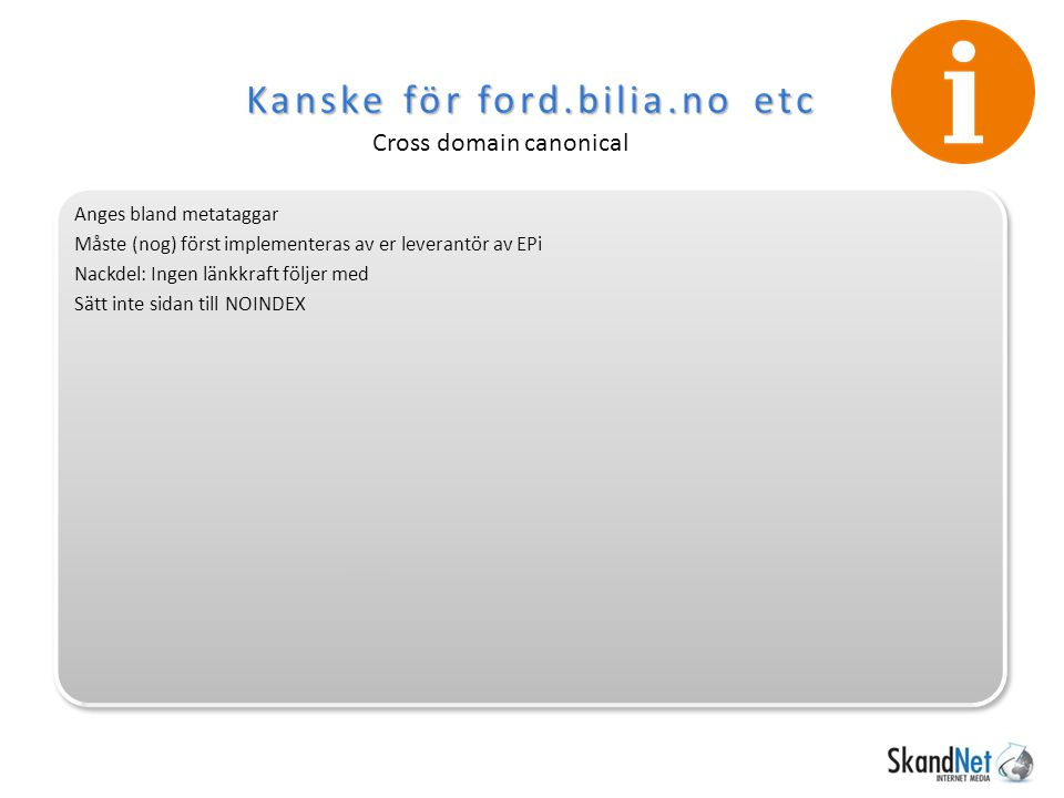 Kanske för ford.bilia.no etc Cross domain canonical