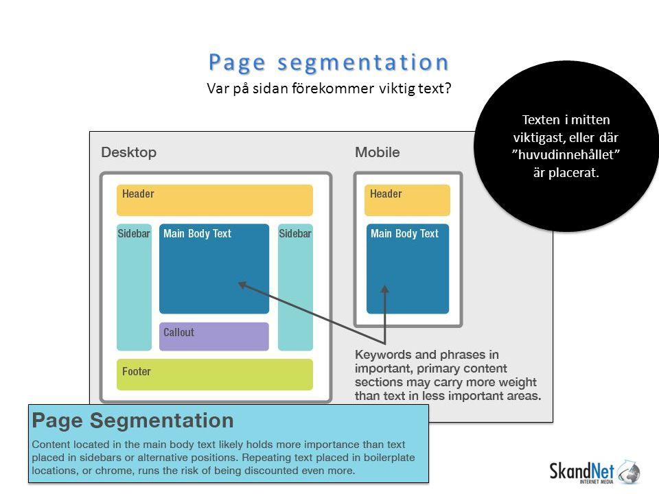 Page segmentation Var på sidan förekommer viktig text.