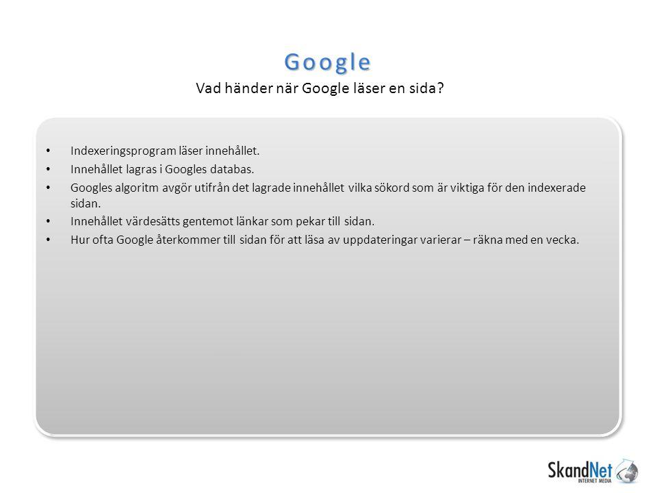 Google Vad händer när Google läser en sida