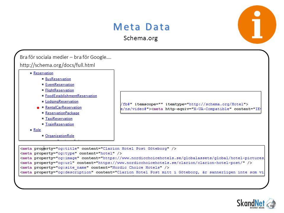 Bra för sociala medier – bra för Google…. http://schema.org/docs/full.html Meta Data Schema.org