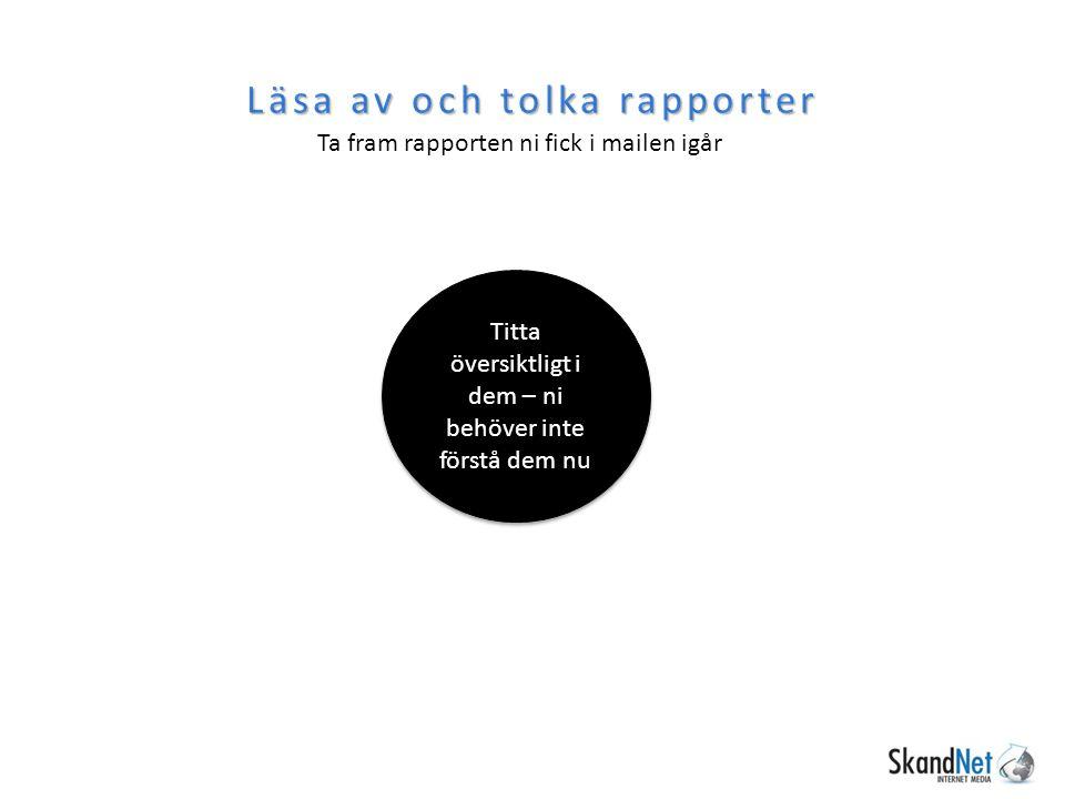 Läsa av och tolka rapporter Ta fram rapporten ni fick i mailen igår Titta översiktligt i dem – ni behöver inte förstå dem nu
