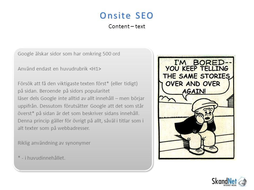 Onsite SEO Content – text