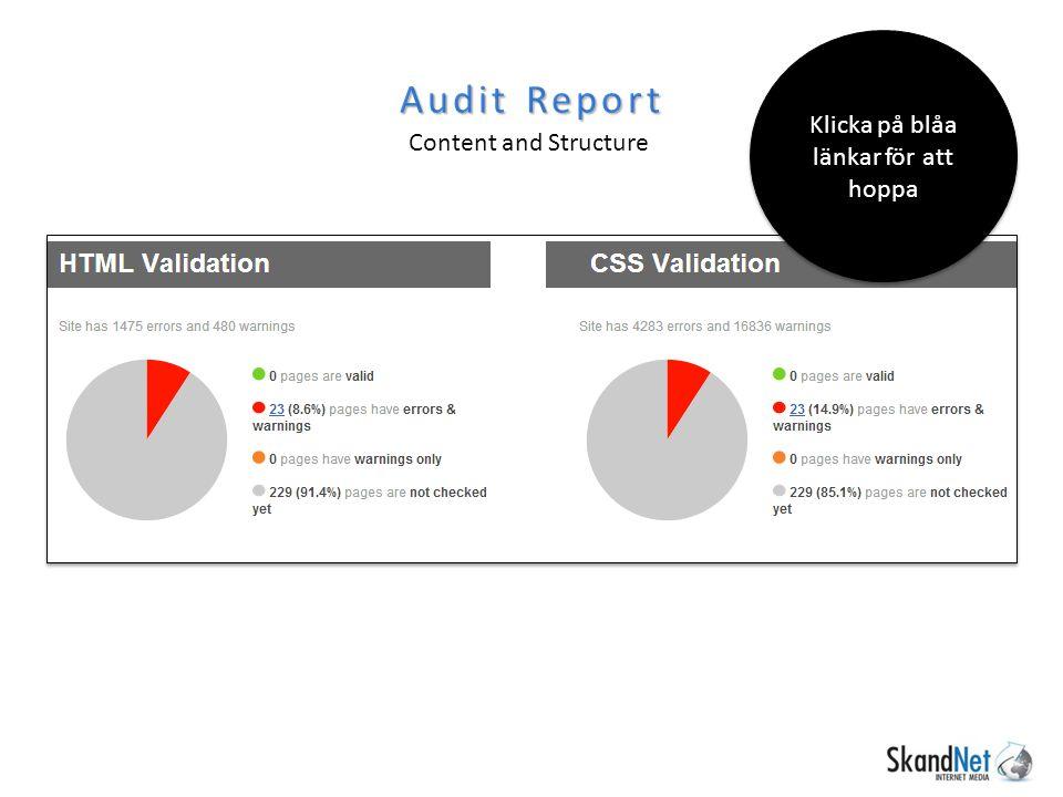 Audit Report Content and Structure Klicka på blåa länkar för att hoppa
