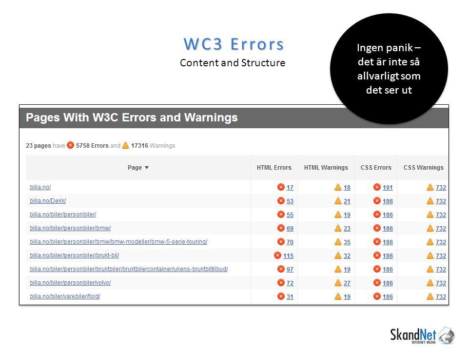 WC3 Errors Content and Structure Ingen panik – det är inte så allvarligt som det ser ut