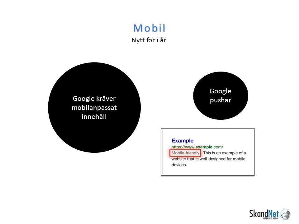Mobil Nytt för i år Google kräver mobilanpassat innehåll Google pushar