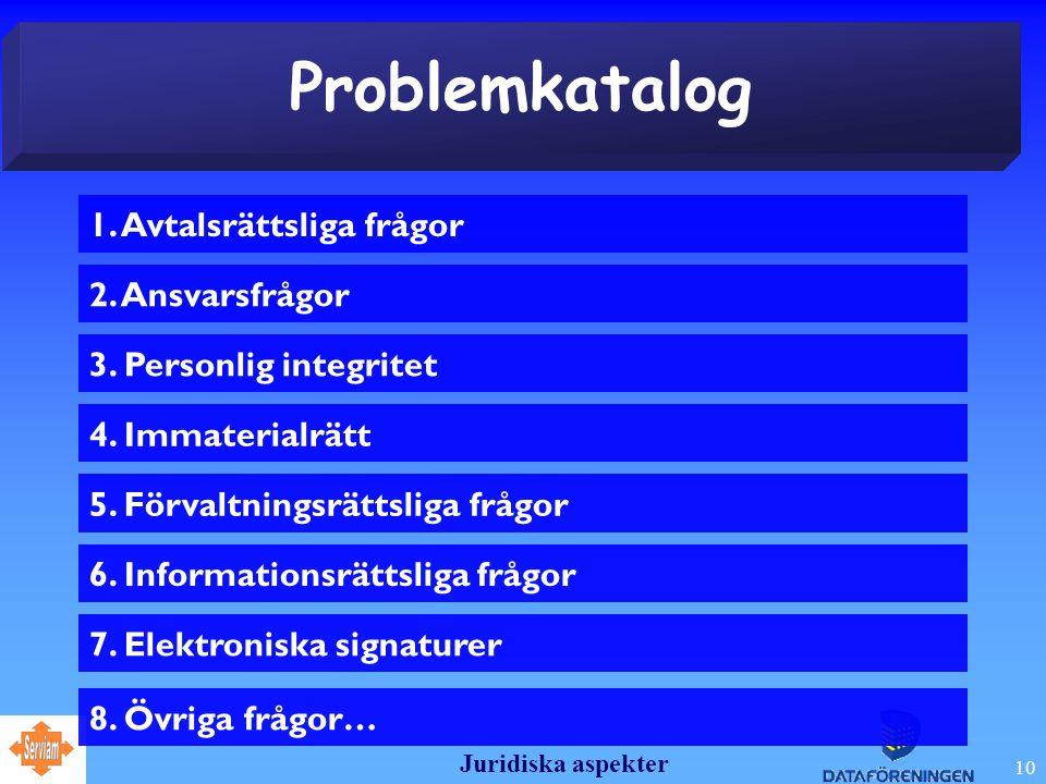 Juridiska aspekter 10 Problemkatalog 2.Ansvarsfrågor 3.
