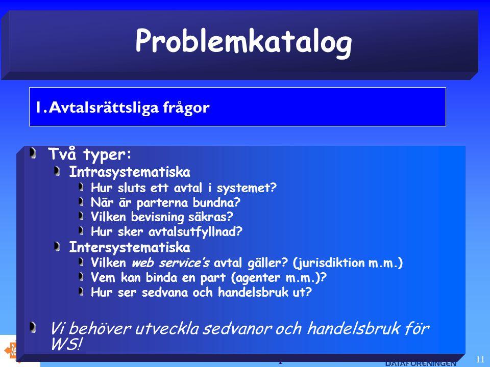 Juridiska aspekter 11 Problemkatalog 1.