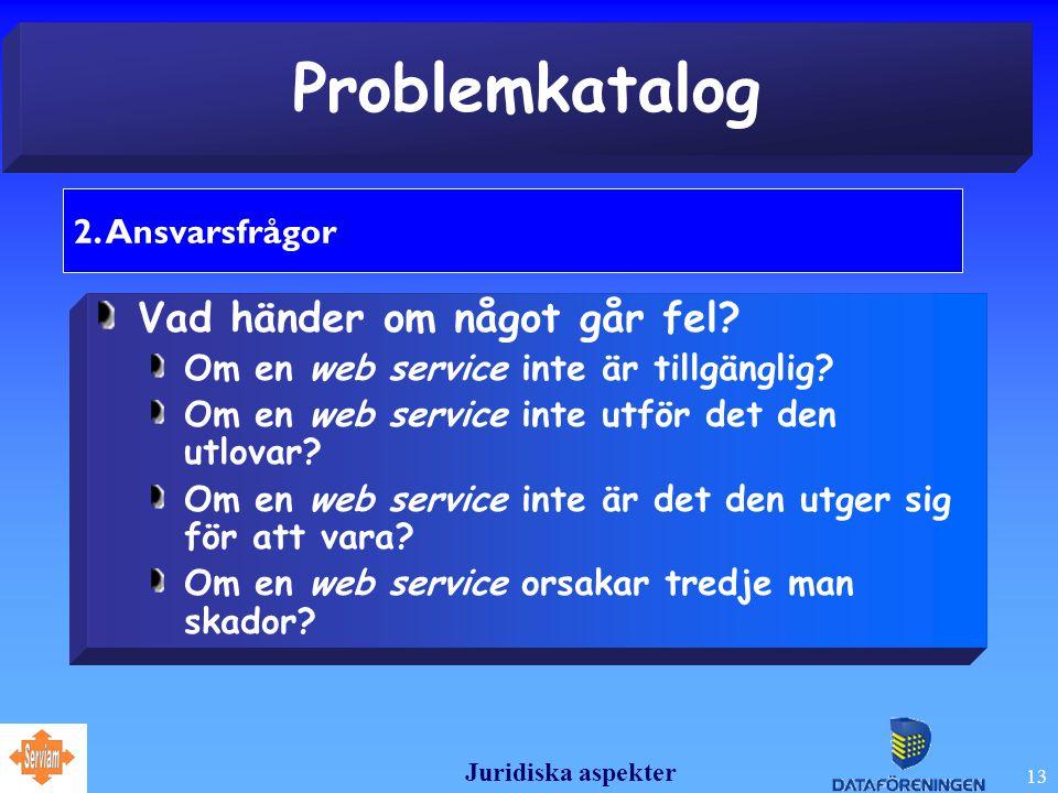 Juridiska aspekter 13 Problemkatalog 2. Ansvarsfrågor Vad händer om något går fel.