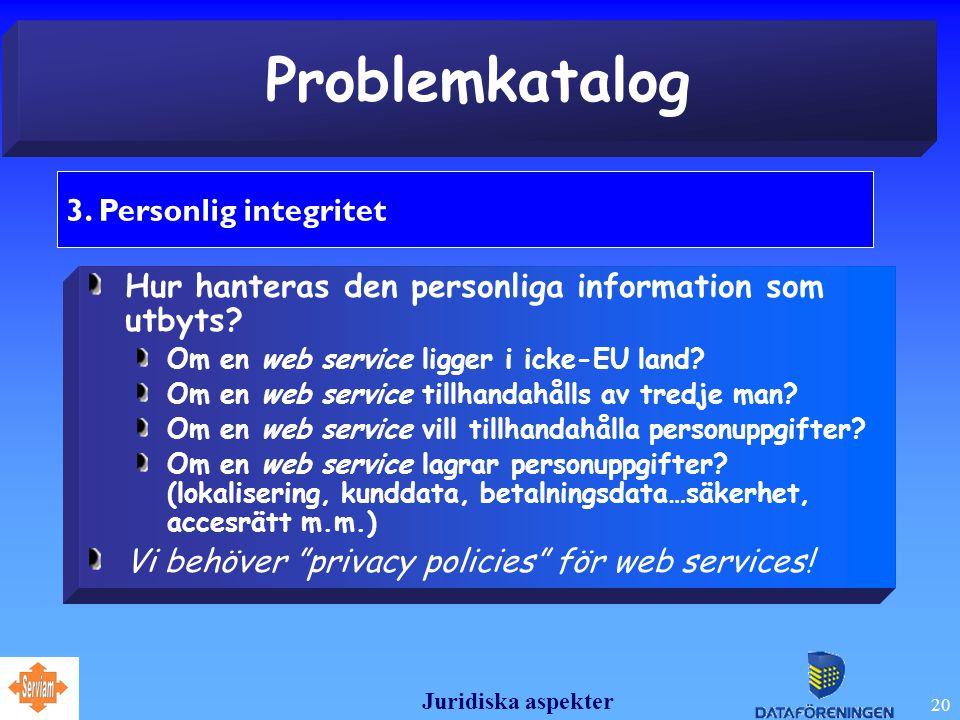 Juridiska aspekter 20 Problemkatalog 3.