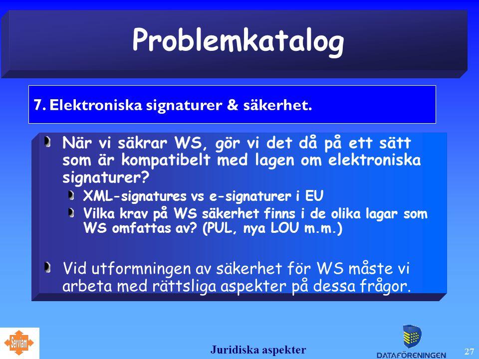 Juridiska aspekter 27 Problemkatalog 7.Elektroniska signaturer & säkerhet.