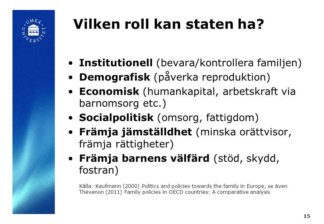 Vilken roll kan staten ha? Institutionell (bevara/kontrollera familjen) Demografisk (påverka reproduktion) Economisk (humankapital, arbetskraft via ba