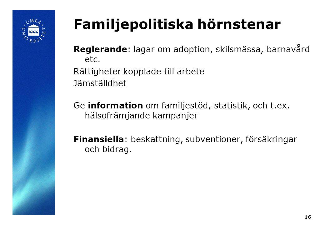 Familjepolitiska hörnstenar Reglerande: lagar om adoption, skilsmässa, barnavård etc. Rättigheter kopplade till arbete Jämställdhet Ge information om