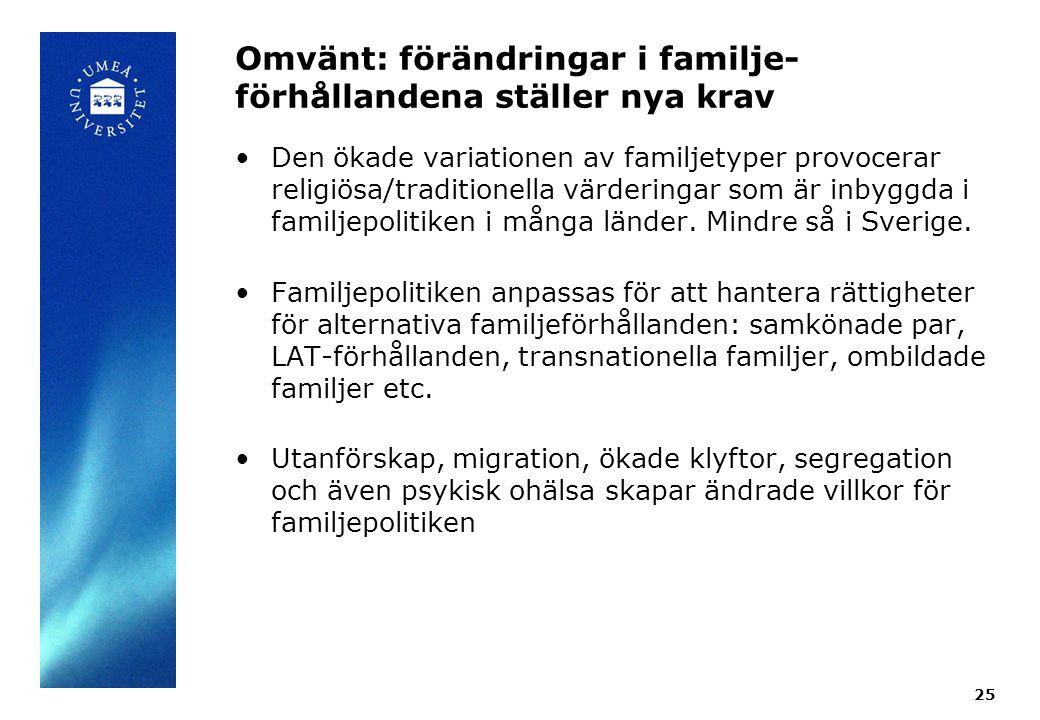 Omvänt: förändringar i familje- förhållandena ställer nya krav Den ökade variationen av familjetyper provocerar religiösa/traditionella värderingar so