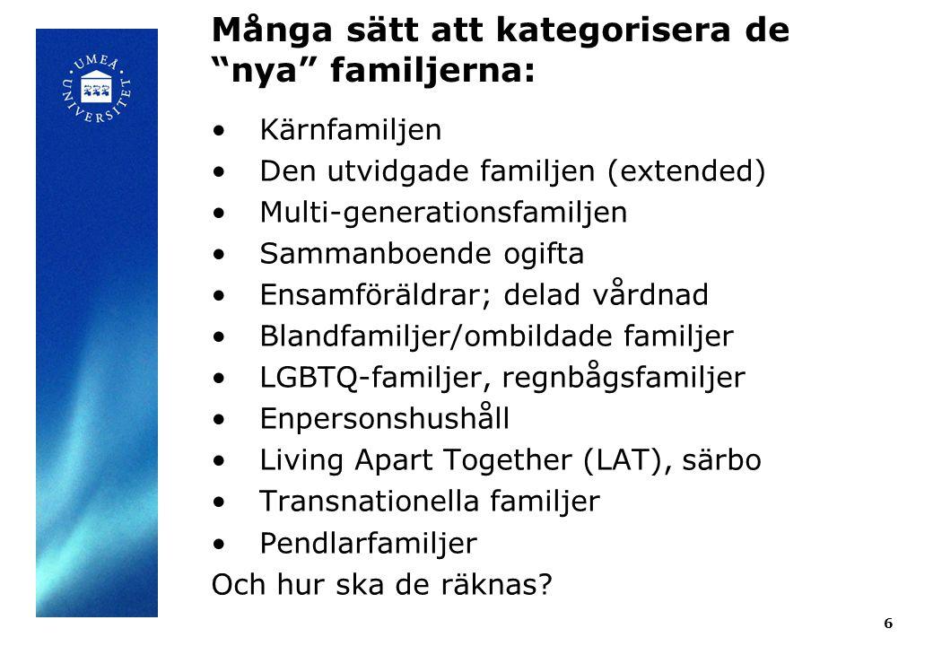 """Många sätt att kategorisera de """"nya"""" familjerna: 6 Kärnfamiljen Den utvidgade familjen (extended) Multi-generationsfamiljen Sammanboende ogifta Ensamf"""