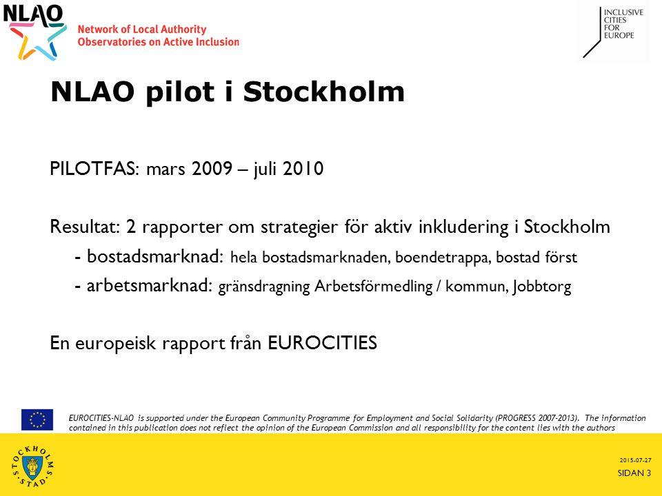 NLAO pilot i Stockholm PILOTFAS: mars 2009 – juli 2010 Resultat: 2 rapporter om strategier för aktiv inkludering i Stockholm - bostadsmarknad: hela bostadsmarknaden, boendetrappa, bostad först - arbetsmarknad: gränsdragning Arbetsförmedling / kommun, Jobbtorg En europeisk rapport från EUROCITIES 2015-07-27 SIDAN 3 EUROCITIES-NLAO is supported under the European Community Programme for Employment and Social Solidarity (PROGRESS 2007-2013).