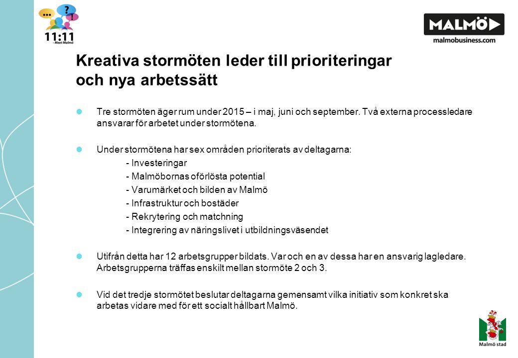 Kreativa stormöten leder till prioriteringar och nya arbetssätt Tre stormöten äger rum under 2015 – i maj, juni och september.