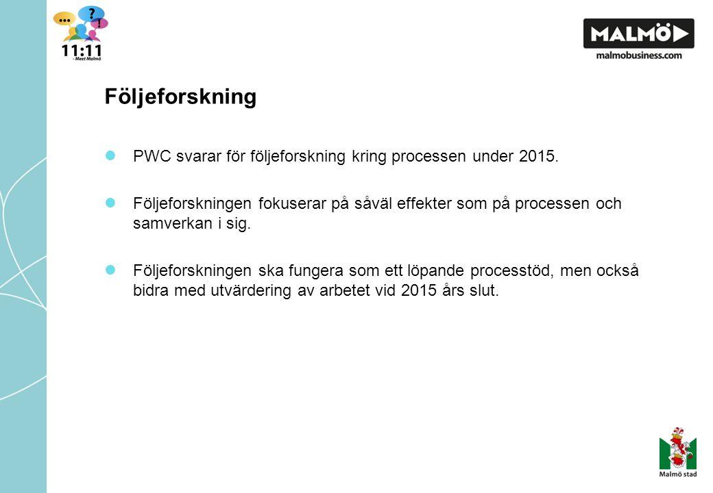 Följeforskning PWC svarar för följeforskning kring processen under 2015.