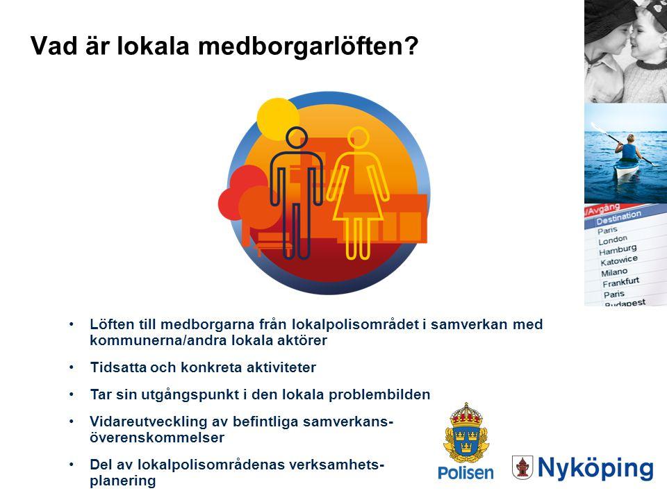 Vad är lokala medborgarlöften? Löften till medborgarna från lokalpolisområdet i samverkan med kommunerna/andra lokala aktörer Tidsatta och konkreta ak